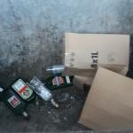 Kontajner sklo odpad vyhodený s kartónom
